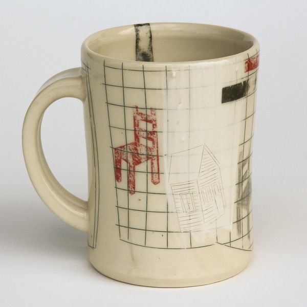 In-Cahoots Mark Errol, Coffee Cup, porcelain, slip, mishima, decals, 4.25 x 4.5 x 3.5""