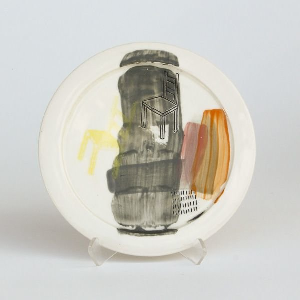 "Mark Errol, Small Plate, porcelain, slip, mishima, decals, .5 x 6"" diameter"