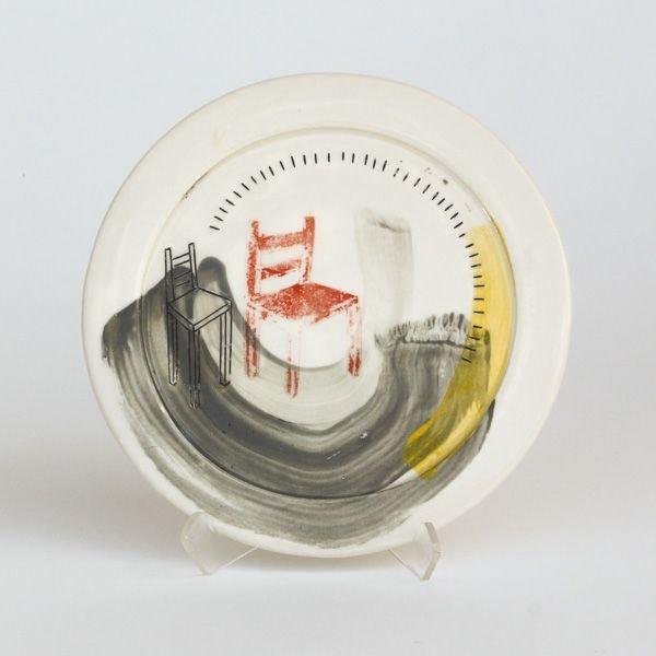 "In-Cahoots Mark Errol, Small Plate, porcelain, slip, mishima, decals, .5 x 6.5"" diameter"