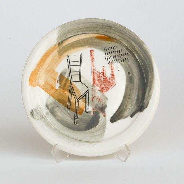 "In-Cahoots Mark Errol, Small Plate, porcelain, slip, mishima, decals, .25 x 6"" diameter"