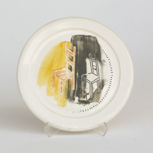 "In-Cahoots Mark Errol, Small Plate, porcelain, slip, mishima, decals, .5 x 6.25"" diameter"