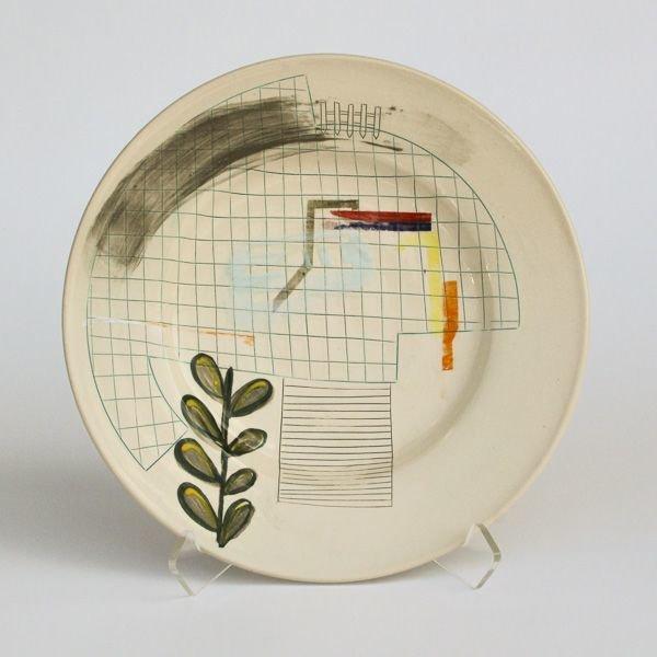 "In-Cahoots Mark Errol, Large Plate, porcelain, slip, mishima, decals, 1.25 x 11"" diameter"