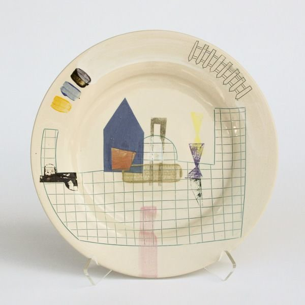 "In-Cahoots Mark Errol, Large Plate, porcelain, slip, mishima, decals, 1.25 x 11"" diameter"