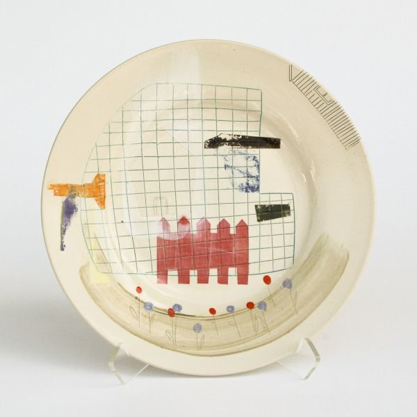 "In-Cahoots Mark Errol, Large Plate, porcelain, slip, mishima, decals, 1.25 x 10.75"" diameter"