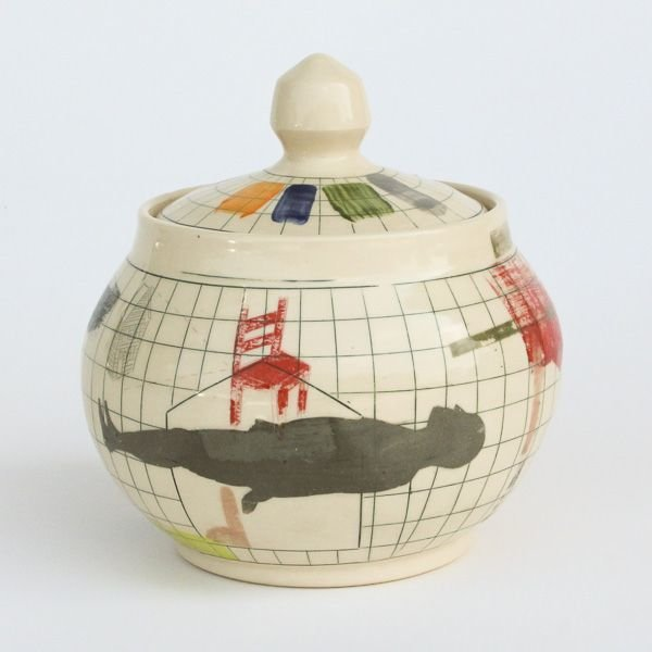 "In-Cahoots Mark Errol, Lidded Jar, porcelain, slip, mishima, decals, 7.5 x 7"" diameter"