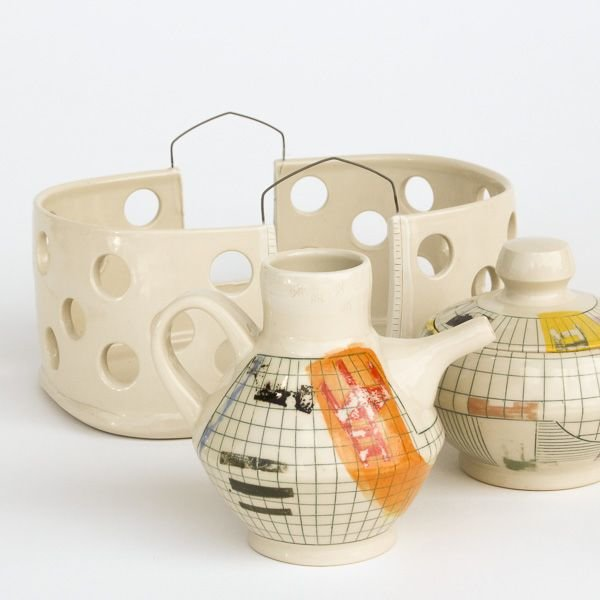 In-Cahoots Mark Errol, Cream & Sugar Set, porcelain, slip, mishima, decals, 6.25 x 9.75""