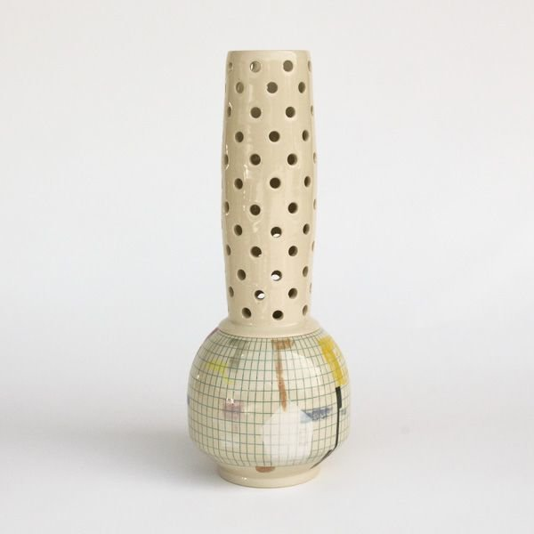 Mark Errol, Perforated Vase, porcelain, slip, mishima, decals, 18.5 x 7""