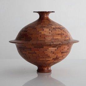 "Richard Haining Richard Haining, Stacked Stepped Lip Vessel, reclaimed mahogany, hand shaped, 11 x 12.75"""