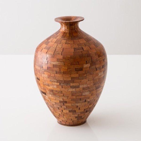 "Richard Haining Richard Haining, Stacked Urn, reclaimed mahogany , hand shaped, 10 x 7"""