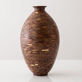 "Richard Haining Richard Haining, Stacked Urn, reclaimed mahogany, hand shaped, 13.5 x 7.75"""