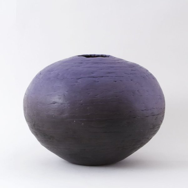 "Ann Housworth, Coil Pot, earthenware, underglaze, smoked, 11 x 14"" dia"