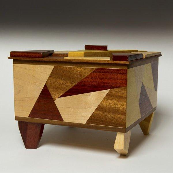 "Doug Pisik Doug Pisik, Shatter Box, various woods, 9 x 10.25 x 10.25"""