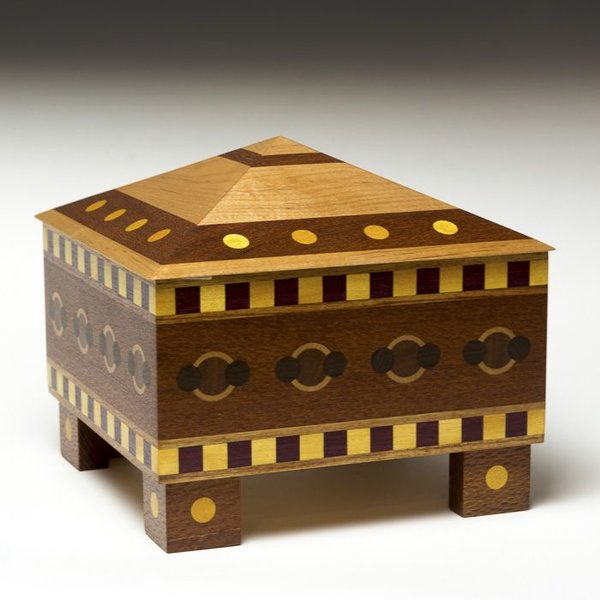 Doug Pisik Doug Pisik, Pyramid Geometric Box, various woods, 8.25 x 8.5 x 8.5""