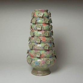 "Shoko Teruyama Shoko Teruyama, Tall Flower Vase, earthenware, coil built, sgraffito, glaze, 12.5 x  8.25"""