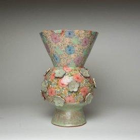 "Shoko Teruyama Shoko Teruyama, Flower Vase, earthenware, coil built, sgraffito, glaze, 12.5 x  8.25"""