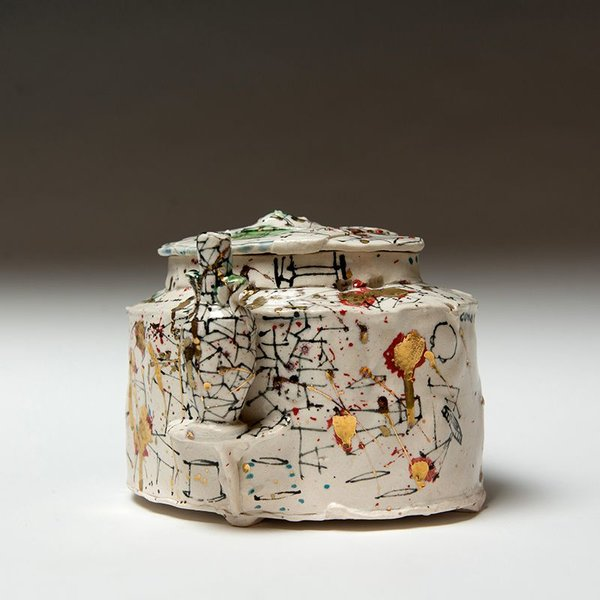 """Ted Saupe Ted Saupe, Golden Oval Jar, porcelain, 4.5 x 6.25 x 5.5"""""""