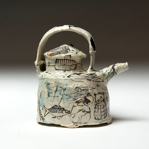"Ted Saupe Ted Saupe, ""Bird"" Teapot, porcelain, 6.5 x 6 x 3.75"""
