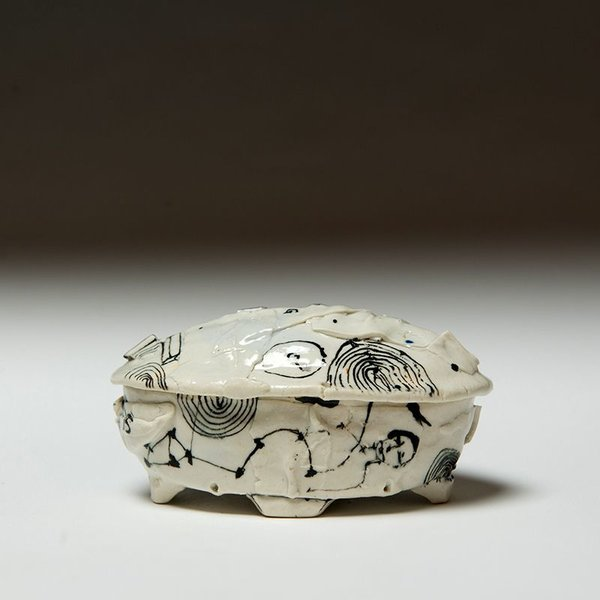 Ted Saupe Ted Saupe, Small Lidded Jar, porcelain, 3 x 6 x 3.5""