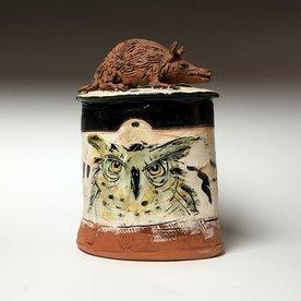 """Ron Meyers Ron Meyers, Oval Jar w/Rat, Owl & Cat, 8.75 x 9 x 5"""""""