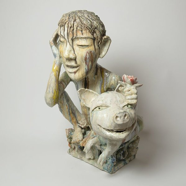 Sunkoo Yuh Sunkoo Yuh, Fortune Pig's Year, porcelain, 24 x 16 x 16""