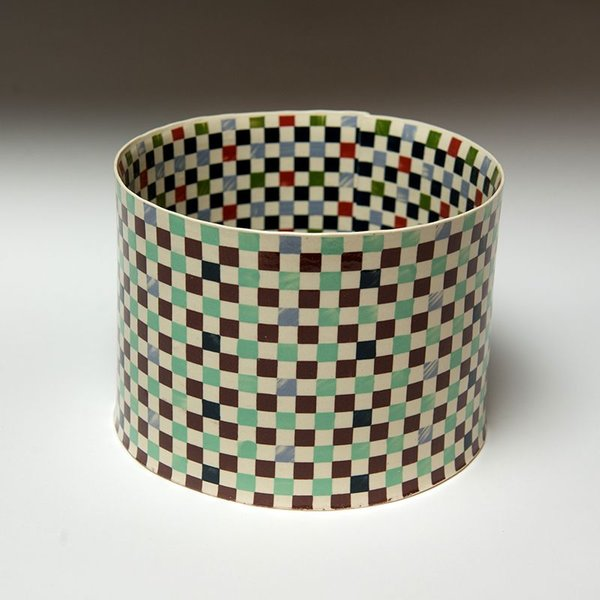 """Lydia Johnson Lydia Johnson, Cylinder Vessel, hand built, double-sided color clay slabs, 5.25 x 7.75 x 7.25"""""""