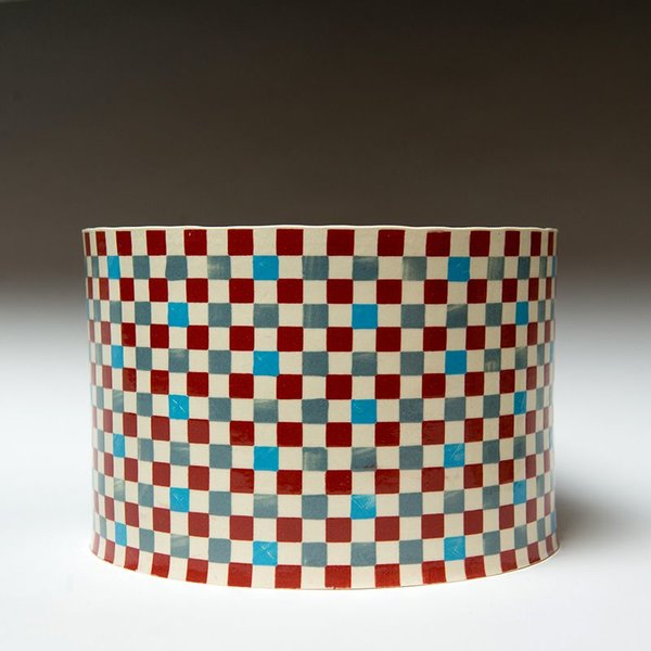 """Lydia Johnson Lydia Johnson, Cylinder Vessel, hand built, double-sided color clay slabs, 5 x 7.25"""" diameter"""