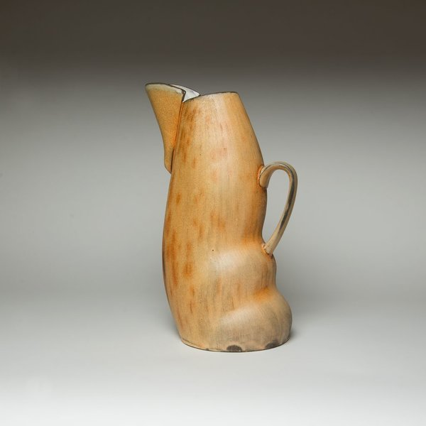 Matt Kelleher Matt Kelleher, Pitcher, slab built soda-fired earthenware, slip, 12.5 x 7.75 x 5.75""