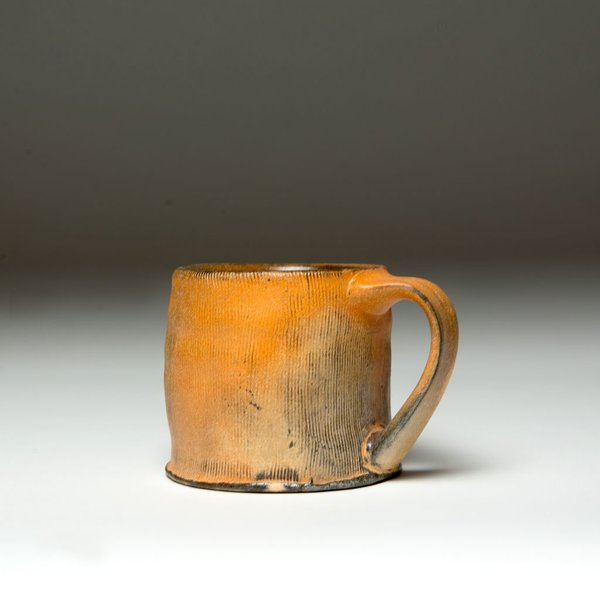 Matt Kelleher Matt Kelleher, Mug, soda-fired earthenware, slip, 3.25 x 4.75 x 3.75""