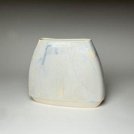 "Nick Moen Nick Moen, Envelope Vase, porcelain, glaze, 9 x 10.25 x 3"""