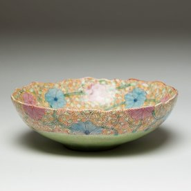 "Shoko Teruyama Shoko Teruyama, Medium Bowl, earthenware, coil built, sgraffito, glaze, 3 x 8.75"" diameter"
