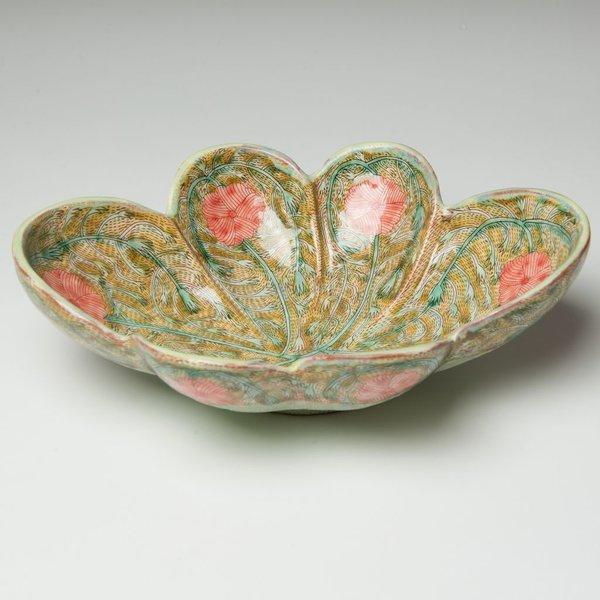 Shoko Teruyama Shoko Teruyama, Oval Flower Bowl, earthenware, coil built, sgraffito, glaze, 3.25 x 10.25 x 7.75