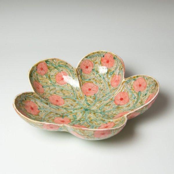 "Shoko Teruyama Shoko Teruyama, Flower Bowl, earthenware, coil built, sgraffito, glaze, 3.75 x 11.25"""