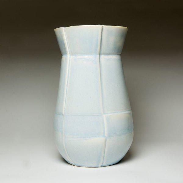 """Nick Moen Nick Moen, Seam Drop Vase, porcelain, glaze, 12 x 7.5"""""""