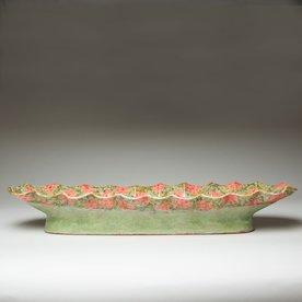 "Shoko Teruyama Shoko Teruyama, Oval Boat, earthenware, coil built, sgraffito, glaze, 3.75 x 23.75 x 7"""