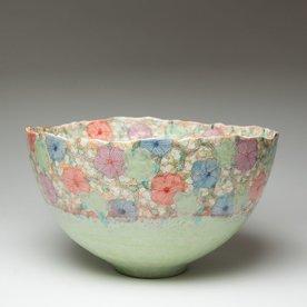 "Shoko Teruyama Shoko Teruyama, Large Bowl, earthenware, coil built, sgraffito, glaze, 7 x  12 x  12.5"""