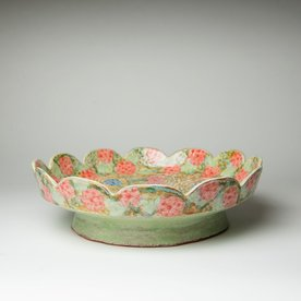 """Shoko Teruyama Shoko Teruyama, Platter, earthenware, coil built, sgraffito, glaze, 4 x 14"""""""