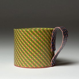 Lydia Johnson Lydia Johnson, Mug, hand built, double-sided color clay slabs, 3 x 4.5 x 3.5""