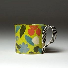 """Lydia Johnson Lydia Johnson, Mug, hand built, double-sided color clay slabs, 3.25 x 4.75 x 3.5x 4.5"""""""