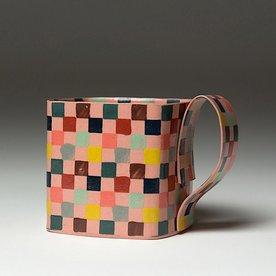 """Lydia Johnson Lydia Johnson, Mug, hand built, double-sided color clay slabs, 3 x 4.5 x 3.5x 3.25"""""""