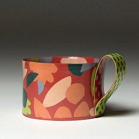 "Lydia Johnson Lydia Johnson, Mug, hand built, double-sided color clay slabs, 2.75 x 4.5 x 3.75"""