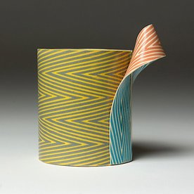 """Lydia Johnson Lydia Johnson, Cup, hand built, double-sided color clay slabs, 5 x 4.75 x 3.25"""""""