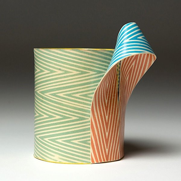 """Lydia Johnson Lydia Johnson, Cup, hand built, double-sided color clay slabs, 5 x 4.75 x 3.25 """""""