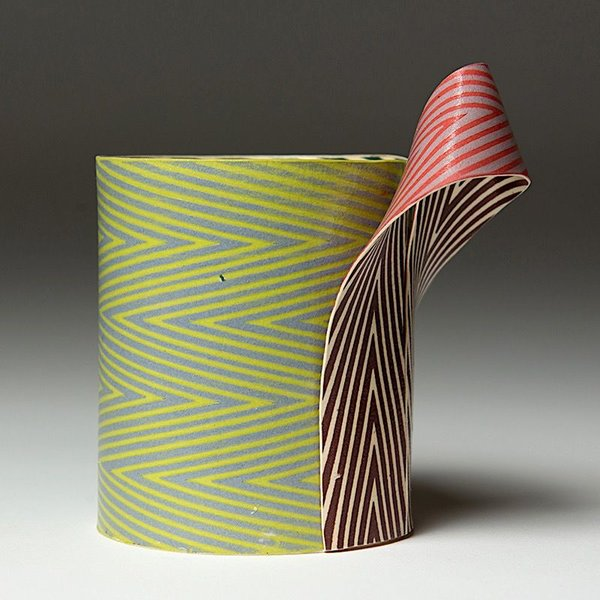 Lydia Johnson Lydia Johnson, Cup, hand built, double-sided color clay slabs, 5 x 4.75 x 3.25""