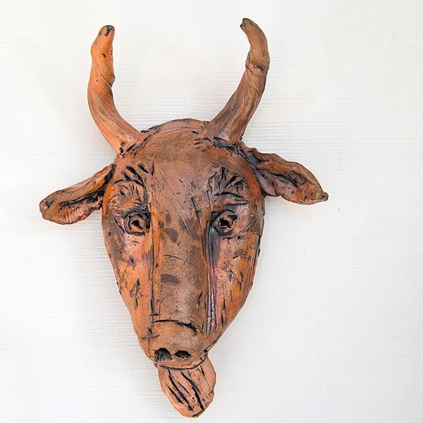 "Ron Meyers Ron Meyers, Goat Mask, 15 x 11 x 4"" <br /> <br /> <br /> <br /> <br /> Platter, 3 x 21.5 x 9.5"""