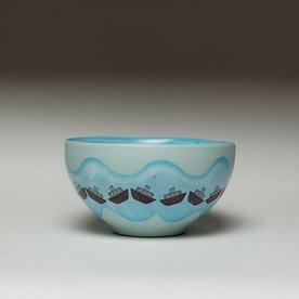 "Andrew Gilliatt Andrew Gilliatt, Boats Bowl porcelain, glaze, laser transfers, 3 x 5.75"" dia"