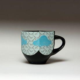 "Andrew Gilliatt Andrew Gilliatt, Bird Quilt Mug, porcelain, glaze, laser transfers, 4 x 5.5 x 4"""