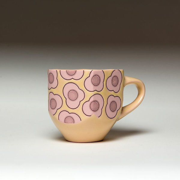 Andrew Gilliatt Andrew Gilliatt, Fried Egg Mug, porcelain, glaze, laser transfers, 4 x 5.5 x 4""