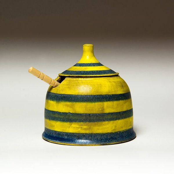 Masa Sasaki Masa Sasaki, Honey Pot, black mountain clay, glaze, 5 X 4.75""