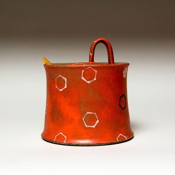 "Masa Sasaki Masa Sasaki, Sugar Pot, black mountain clay, glaze, 5 x 4.5"" dia"