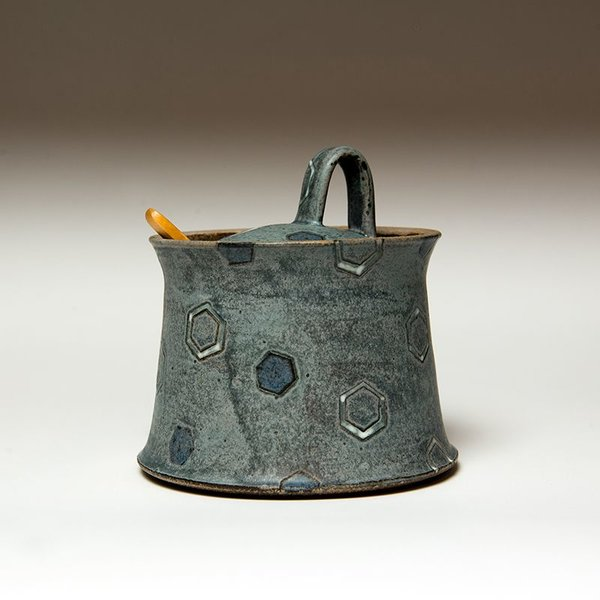 "Masa Sasaki Masa Sasaki, Sugar Pot, black mountain clay, glaze, 5 X 5.25""di"